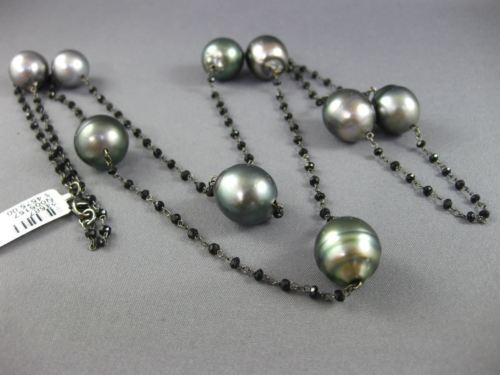 ESTATE LARGE & LONG AAA TAHITIAN PEARL & BLACK QUARTZ 14KT BLACK GOLD NECKLACE