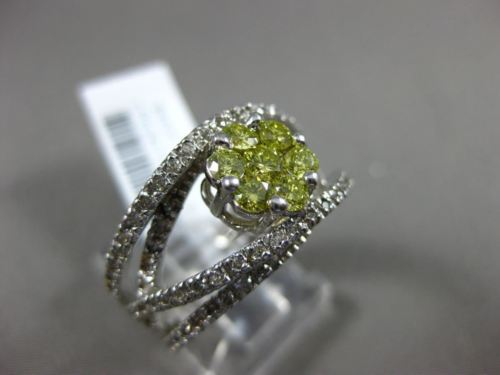 ESTATE WIDE .95CT WHITE & FANCY YELLOW DIAMOND 14KT GOLD 3D FLOWER INFINITY RING
