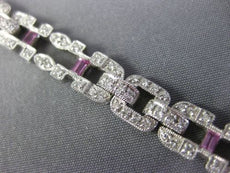 WIDE & LONG 1.92CT DIAMOND & AAA PINK SAPPHIRE 18K WHITE GOLD 3D TENNIS BRACELET