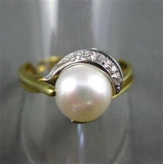 ESTATE WIDE .06CT DIAMOND 18KT WHITE & YELLOW GOLD AAA SOUTH SEA PEARL RING 1008