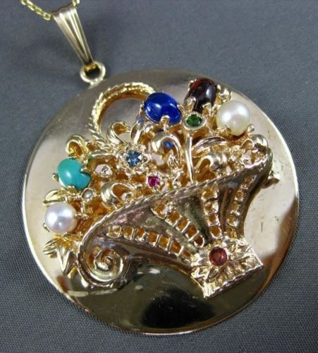 ANTIQUE LARGE AAA MULTI GEM & PEARL 14KT YELLOW GOLD FLOWER BASKET PENDANT #1237