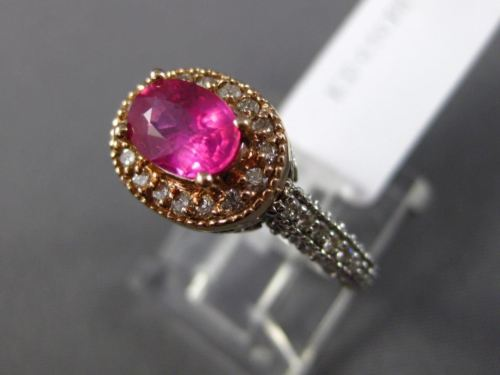WIDE 1.50CT DIAMOND & AAA PINK SAPPHIRE 14K WHITE & ROSE GOLD 3D ENGAGEMENT RING