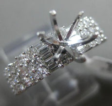 ESTATE 1.29CT ROUND & BAGUETTE DIAMOND 18K WHITE GOLD SEMI MOUNT ENGAGEMENT RING