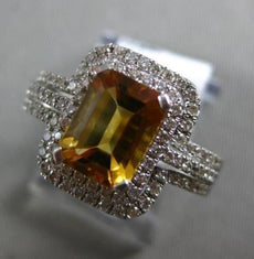 ESTATE 2.14CT DIAMOND & AAA CITRINE 14KT WHTIE GOLD DOUBLE HALO ENGAGEMENT RING