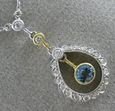 ANTIQUE .50CT DIAMOND & BLUE TOPAZ 14KT WHITE GOLD 3D FILIGREE FLOATING NECKLACE