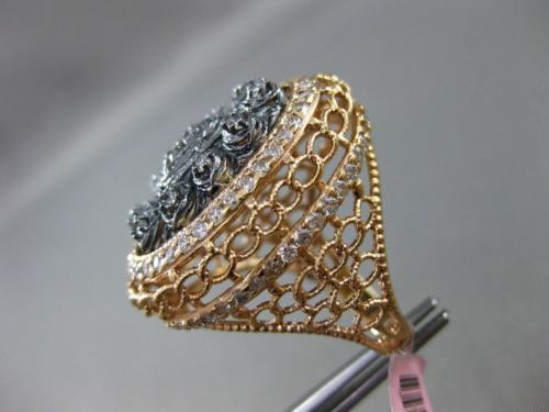 ANTIQUE EXTRA LARGE 1.0CT DIAMOND 14K ROSE & BLACK GOLD 3D OVAL HANDCRAFTED RING