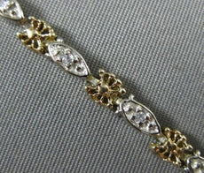 ANTIQUE .10CT DIAMOND 14K WHITE & YELLOW GOLD 3D FOUR STONE ROPE BRACELET #23328