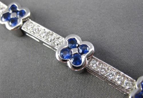 ESTATE WIDE 4.42CT DIAMOND & AAA SAPPHIRE 14KT WHITE GOLD FLORAL TENNIS BRACELET