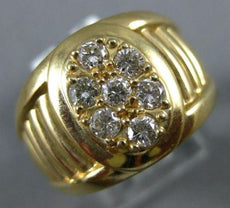 ESTATE WIDE .56CT DIAMOND 14KT YELLOW GOLD 3D CLUSTER OVAL MEN'S RING
