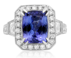 ESTATE WIDE 5.64CT DIAMOND & AAA TANZANITE 18KT WHITE GOLD 3D ENGAGEMENT RING
