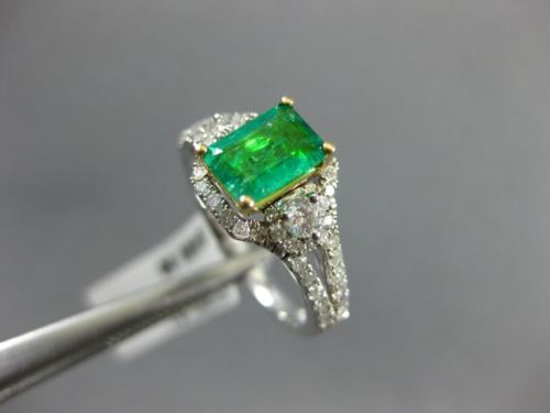 1.44CT DIAMOND & COLOMBIAN EMERALD 14KT 2 TONE GOLD 3 STONE HALO ENGAGEMENT RING