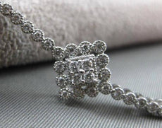 ANTIQUE LONG .75CT DIAMOND 14KT WHITE GOLD FILIGREE MILGRAIN TENNIS BRACELET