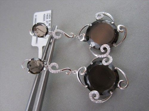 ANTIQUE 14KT 22.47CTW SMOKEY TOPAZ & DIAMOND HANGING EARRINGS ONE OF A KIND!!!!!
