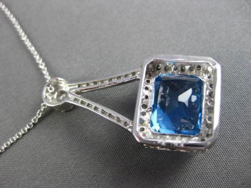 ANTIQUE LARGE 8.49CT DIAMOND & AAA BLUE TOPAZ 14K WHITE GOLD 3D FLOATING PENDANT
