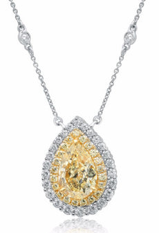 LARGE 6.01CT WHITE & FANCY YELLOW DIAMOND 18KT TWO TONE GOLD TEAR DROP NECKLACE