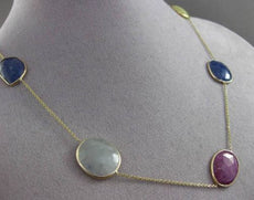 ANTIQUE 14KT YELLOW GOLD EXTRA FACET MULTI COLOR SAPPHIRE BY THE YARD NECKLACE