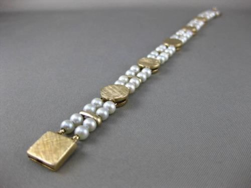 ESTATE WIDE LUCIEN PICCARD 14KT YELLOW GOLD AAA PEARL TWO STRAND BRACELET #24428