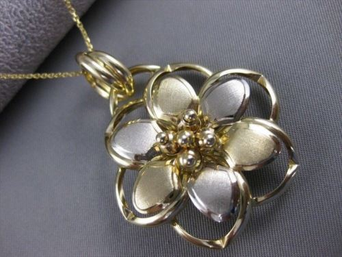LARGE ESTATE 14K WHITE YELLOW GOLD ITALY HANGING FILIGREE FLOWER PENDANT ##1114