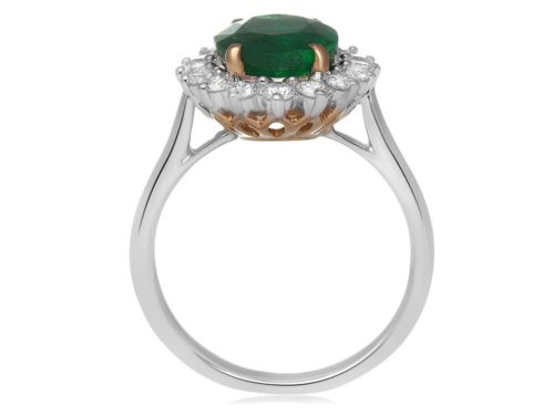 GIA CERTIFIED 3.49CT DIAMOND & AAA EMERALD 18KT 2 TONE GOLD HALO ENGAGEMENT RING