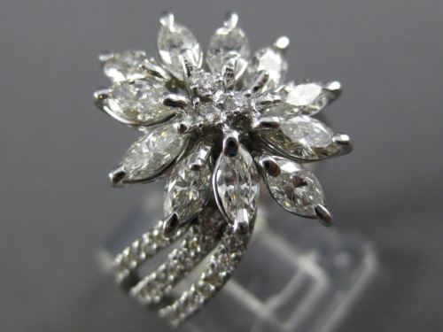 ANTIQUE LARGE 2.16CT MARQUISE & ROUND DIAMOND 14KT WHITE GOLD FLOWER RING #25919