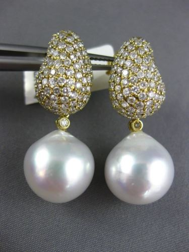 LARGE 2.58CT DIAMOND & AAA SOUTH SEA PEARL 18KT YELLOW GOLD 3D HANGING EARRINGS