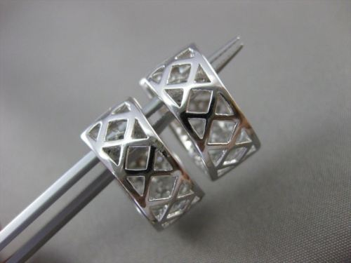 ESTATE WIDE .82CT DIAMOND 18KT WHITE GOLD FILIGREE HUGGIE EARRINGS UNIQUE #16574