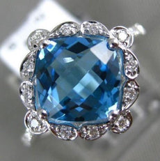 ESTATE 2.73CT DIAMOND & AAA BLUE TOPAZ 14KT WHITE GOLD FILIGREE HALO FLOWER RING