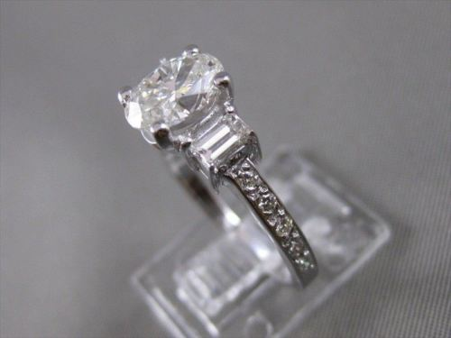 GIA ESTATE 1.66CTW DIAMOND 14K WHITE GOLD OVAL 3 STONE ENGAGEMENT RING 8MM 20255