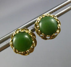 ANTIQUE AAA JADE 14K YELLOW GOLD 3D HANDCRAFTED ROPE DESIGN STUD EARRINGS #19634