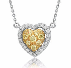 ESTATE .58CT WHITE & FANCY YELLOW DIAMOND 14K 2 TONE GOLD HEART CLUSTER NECKLACE