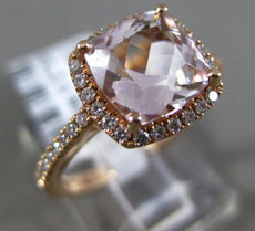 ESTATE WIDE 2.2CT DIAMOND & AAA MORGANITE 14K ROSE GOLD FILIGREE ENGAGEMENT RING