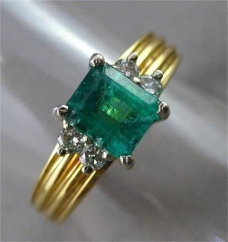 ANTIQUE 1.18CT AAA COLOMBIAN EMERALD & DIAMOND 14KT W&Y GOLD ENGAGEMENT RING 128