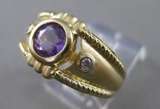 ESTATE 1.24CTW DIAMOND AMETHYST 14K YELLOW GOLD BEZEL COCKTAIL RING BAND #21457