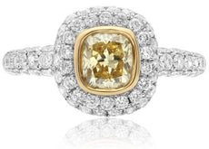 ESTATE 2.23CT WHITE & FANCY YELLOW DIAMOND 18K 2 TONE GOLD BEZEL ENGAGEMENT RING