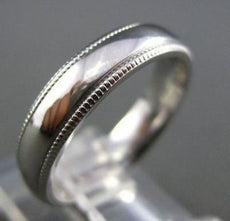 ESTATE 14KT WHITE GOLD MILGRAIN CLASSIC WEDDING RING 4MM WIDE BEAUTIFUL #1523