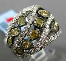 ESTATE LARGE 2.79CT WHITE & FANCY YELLOW DIAMOND 18KT 2 TONE GOLD MULTI ROW RING