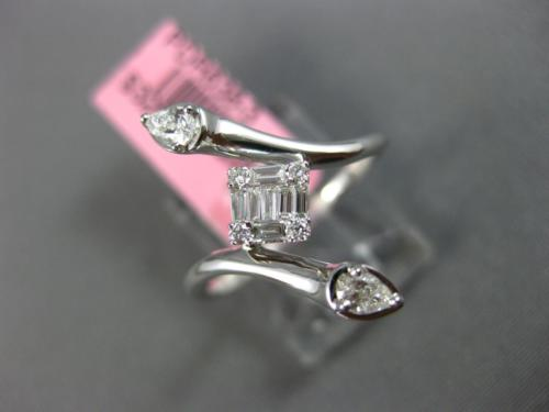 ESTATE WIDE .29CT DIAMOND 18KT WHITE GOLD 3D MULTI SHAPE SQUARE SNAKE LOVE RING