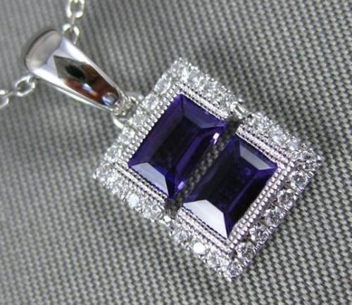 .72CT DIAMOND & AAA AMETHYST 14K WHITE GOLD 3D RECTANGULAR ILLUSION LOVE PENDANT
