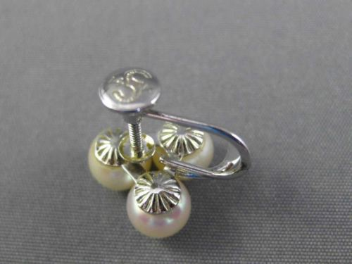 ANTIQUE AAA SOUTH SEA PEARL 14K WHITE GOLD 3D FLOWER LEAF SCREW CLIP ON EARRINGS