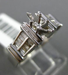 ESTATE WIDE .35CT BAGUETTE DIAMOND 14KT WHITE GOLD 3D SEMI MOUNT ENGAGEMENT RING