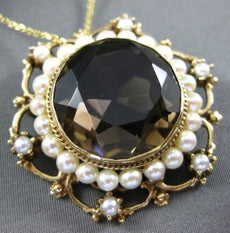 ANTIQUE LARGE 35CT SMOKY TOPAZ & SOUTH SEA PEARL 14KT YELLOW GOLD PENDANT BROOCH