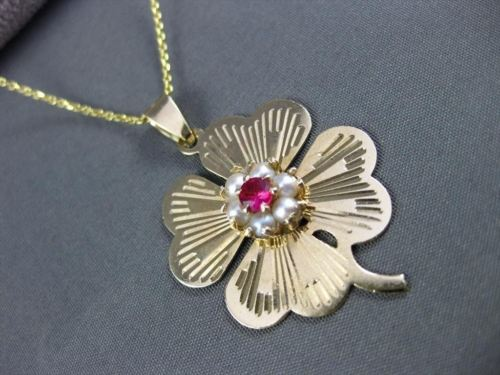 ANTIQUE 14KT YELLOW GOLD AAA RUBY & AAA PEARL IRISH 4 LEAF CLOVER PENDANT #19093