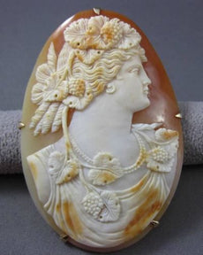 ANTIQUE EXTRA LARGE 14KT YELLOW GOLD LADY CAMEO BROOCH / PIN / PENDANT #23379