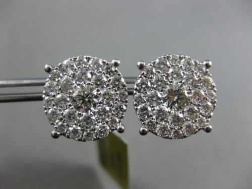 EXTRA LARGE 2.08CT DIAMOND 14KT WHITE GOLD 3D FILIGREE SCREW BACK STUD EARRINGS