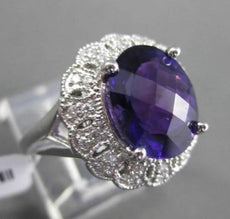 ESTATE 4.62CT DIAMOND & AAA AMETHYST 14K WHITE GOLD FILIGREE FLORAL CLUSTER RING