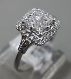 ESTATE WIDE .47CT DIAMOND 18KT WHITE GOLD 3D SQUARE HALO PROMISE ENGAGEMENT RING