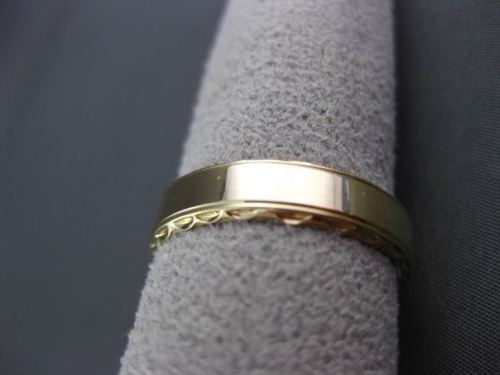 ANTIQUE 14KT YELLOW GOLD FILIGREE CLASSIC WEDDING ANNIVERSARY RING 5mm #23526