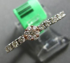 ESTATE .68CT DIAMOND 18KT WHITE & ROSE GOLD FLOWER TENNIS ETERNITY FLEXIBLE RING