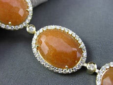 ESTATE WIDE 3.50CT DIAMOND & ORANGE ARAGONITE 14K YELLOW GOLD OVAL HALO BRACELET