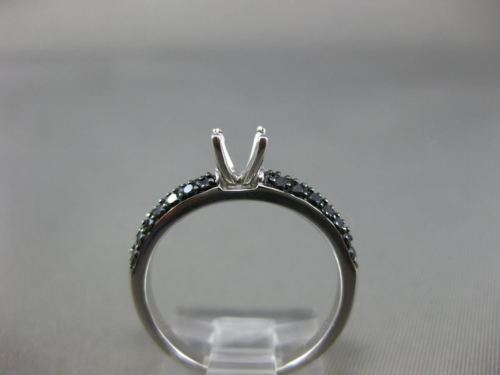 .33CT BLACK DIAMOND 14K WHITE GOLD 3D 4 PRONG TWO ROW SEMI MOUNT ENGAGEMENT RING